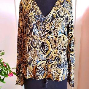 H&M ruffle hem shirred front blouse